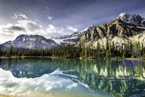 Reflection, Bow Lake, crowfoot glacier, banff national park, alberta, canada