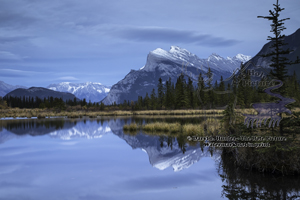 Cool Vermillion Lake, cloudy sky, banff national park, alberta, canada