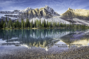 Banff magic, bow lake reflection, crowfoot mountain, banff national park, alberta, canada