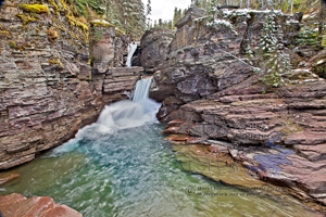 St. Mary Falls, Glacier National Park, waterfall, silky water, canyon, st. Mary creek, St. Mary, Montana, mountain stream