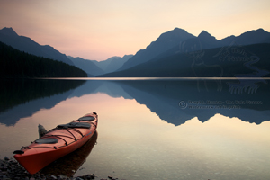 Paddlers Paradise, Bowman Lake, reflection, red kayak, reflection, pristine, sunrise, pink sky, glacier national Park, montana