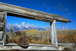 The Grand Tetons framed through the window of the historic Shane Cabin