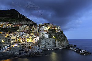 Lights of Manorola, Blue Hour, Cinque Terre, Italy