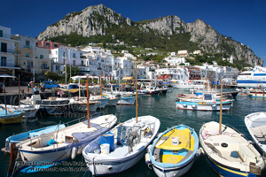 Capri Harbor, boats, mountain, fishing port,