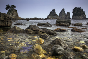Minokake Rocks, Izu Peninsula, Low tide, blue sky, detail,  Japan
