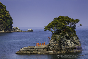 Island, shrine, torii gate, sea stack, izu Peninsula, japan, shinto,