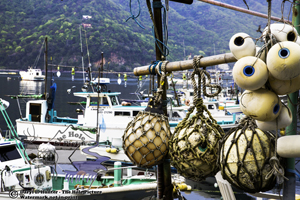 Heda Port, fishgin harbor, detail, fishing nets, fishing boats, Izu Peninsula, japan