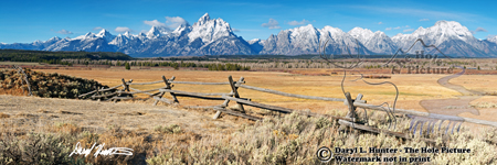 Ranch, Grand Tetons, Jackson Hole, Grand Teton National Park, Buckrail fence, leading line, snow capped peaks