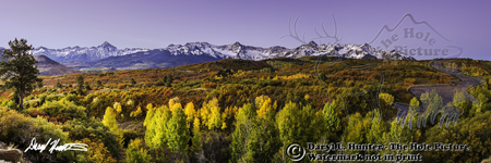 San Juan Autumn, Dallas Divide, fall color, golden aspen, panorama print, Ridgeway Colorado