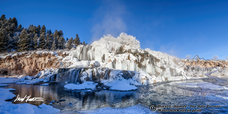 Falls Creek Falls, Frozen Waterfall, iciciles, steam, blue sky, Snake River, Swan Valley, Idaho