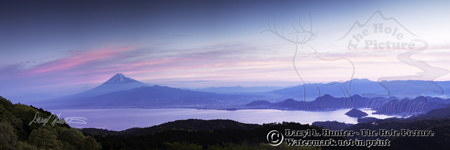 Mount Fuji Sunrise, Izu Peninsual, Japan, pink sky,