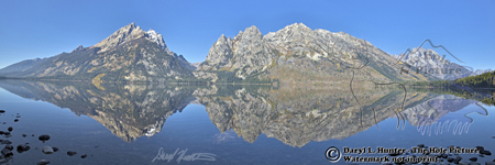 Jenny lake, reflection, panorama landscape, tranquility, calm waters, teton range, Grand Teton National Park, Jackson Hole, Wyoming
