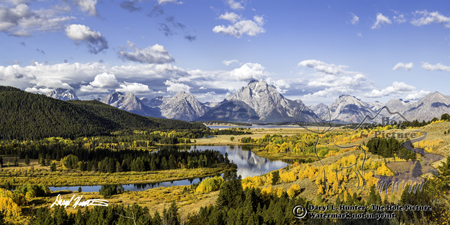 Eagle eye view, Oxbow Bend, Teton Range, Grand Teton National Park, Jackson Hole, Autumn, Wyoming
