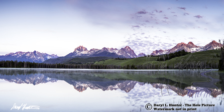 Sawtooth Range panorama at sunrise, little redfish lake, Sawtooth National Recreation Area, Stanley Idaho