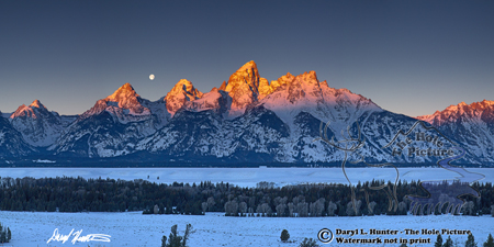 Alpenglow, setting moon, sunrise, Jackson Hole, Wyoming, Grand Teton National Park, Teton Range