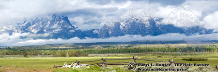 Stormy Day, Grand Tetons, Grand Teton National Park, Panorama landscape, elk, buckrail fence, ranch, japped peaks, Wyoming