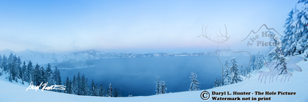 Crater Lake, Sunset, volcano, winter, snow covered, Oregon
