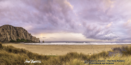 Sunrise, thunderstorm, pink sky, Morro Bay, California, morro rock, beach, sand dunes,