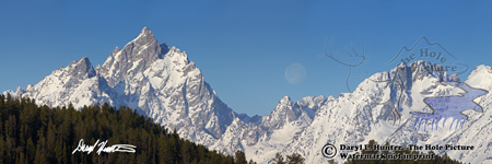 Setting moon, Teton Range, Grand Teton National park, Jackson Hole, Wyoming