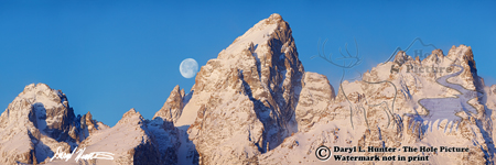 big moon, jagged peaks, Teton Range, full moon, Jackson Hole, Wyoming, Grand Teton National Park