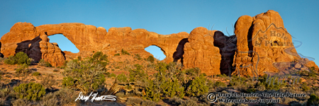 Window Arches, Arched National Park, Panorama landscape, desert, moab, utah, blue sky,