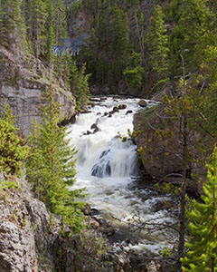 Firehole Falls at Firehole Canyon in Yellowstone National Park