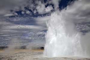 Fountain Geyser, eruption, erubting, hot water, gallons, pretty day, sparkling droplets, backlight, Yellowstone National Park