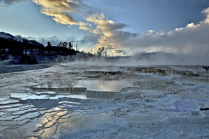 Sunset Mammoth Hot Springs, Yellowstone National Park