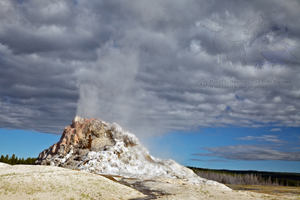 White Cone Geyser, steaming, landscape,Yellowstone National Park