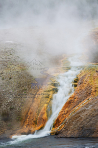Steaming Waterfall, geyser, Yellowstone National Park