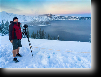 Daryl L. Hunter, Crater Lake, dressed inappropriatly, Oregon, winter, snow, beach wear, sunset,