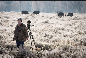 Daryl L. Hunter photographing moose in Jackson Hole Wyoming